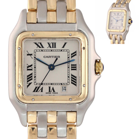 Ladies Cartier Panthere 18k Gold Steel 3 Row Two Tone 26mm Quartz Date Watch