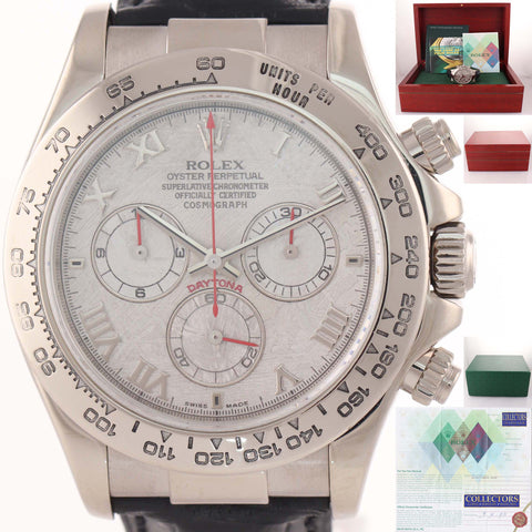 PAPERS Rolex Daytona Cosmograph 116519 Meteorite Red Hands 18K White Gold Watch D8