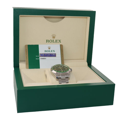 MINT 2015 PAPERS Rolex Milgauss Green Bezel 116400gv Steel Black Watch Box