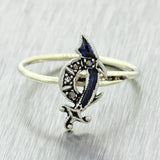 1920s Antique Art Deco 14k White Gold Platinum Sapphire Black Diamond Sword Ring