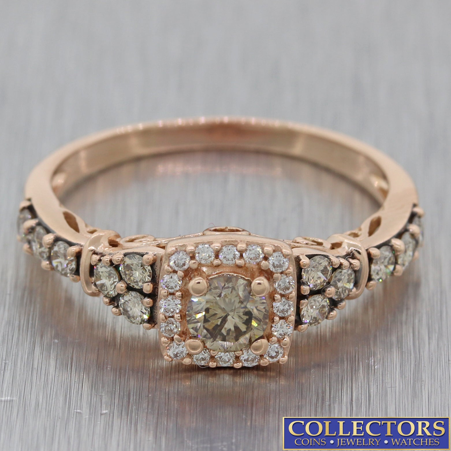 LeVian Strawberry 14k Rose Gold 1.00ct Chocolate Diamond Halo Engagement Ring E8