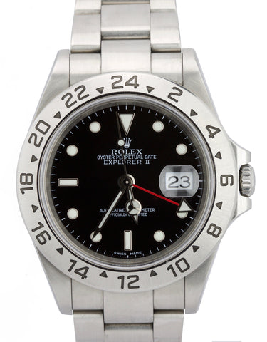 2003 Rolex Explorer II 16570 SEL Lume Stainless Steel Black Date GMT 40mm Watch