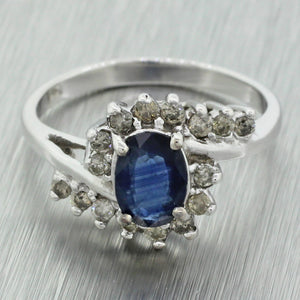Vintage Estate 14k Solid White Gold Sapphire Swirl Diamond Cluster Cocktail Ring
