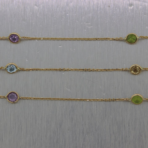 "Modern 14k Yellow Gold 1.80ctw Gemstone 18"" Necklace"