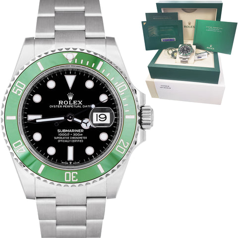 NEW 2020 Rolex Submariner 41mm Date GREEN KERMIT Black Ceramic Watch 126610 LV