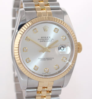 2008 PAPERS Rolex DateJust Jubilee 36mm Diamond 116233 Gold Two Tone Watch Box
