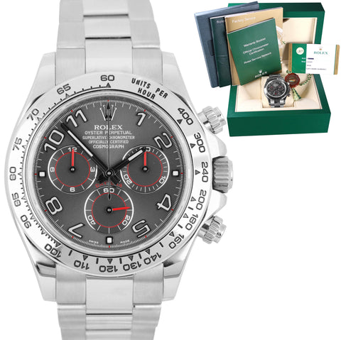 2015 Rolex Daytona Cosmograph 116509 Slate Gray Red Racing 18K White Gold Watch