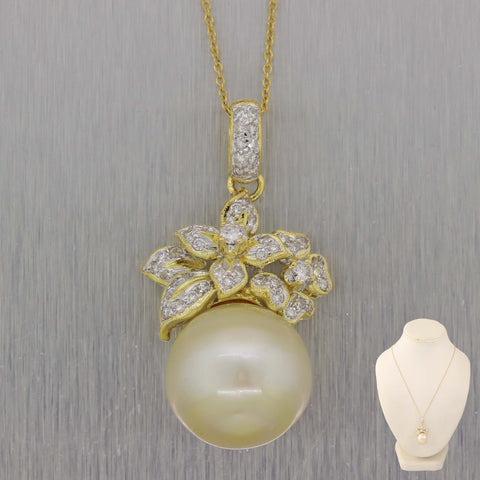 "Vintage Estate 14k Yellow Gold 1ctw Diamond 15mm Pearl 18"" Necklace"