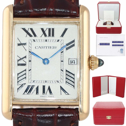 RARE Vintage Cartier Louis Tank 18k Yellow Gold Quartz Roman 2441 Date Watch
