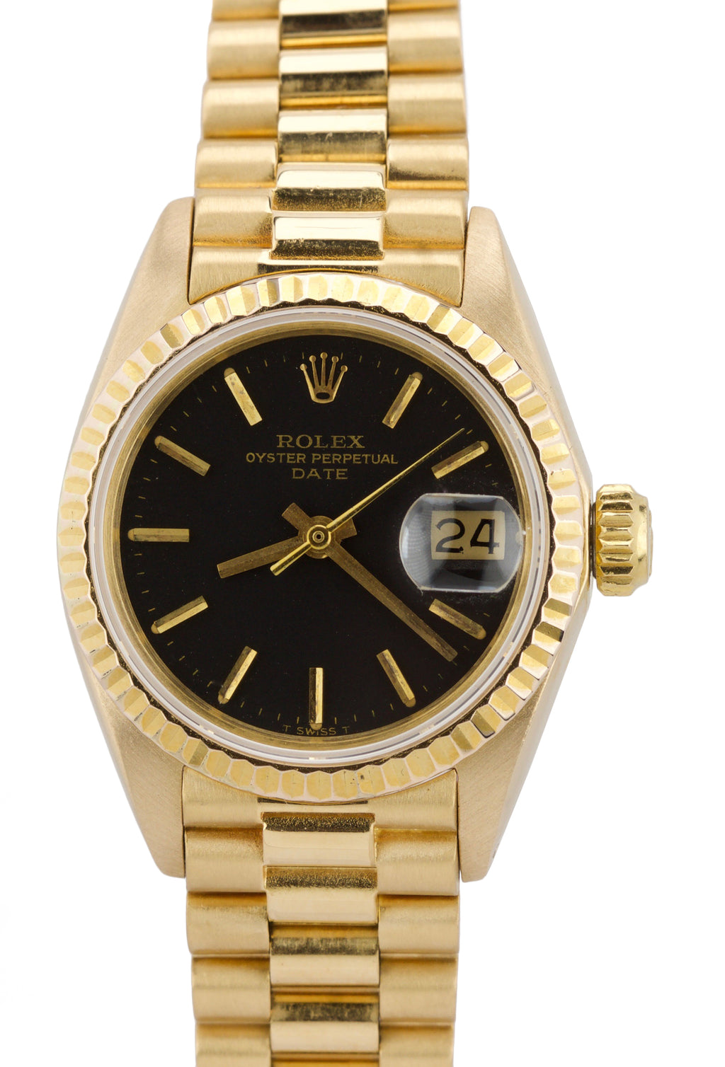 Ladies Rolex Date 6917 26mm Black 18K Yellow Gold Watch 69178 President DateJust