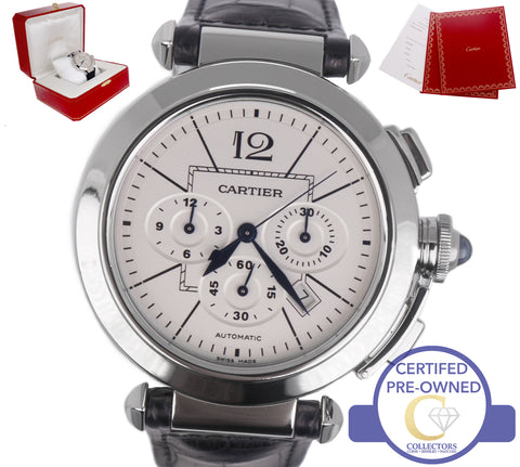 1f1771e1213 Cartier Pasha W3108555 Chronograph Steel 2860 Silver Guilloche Mens Watch