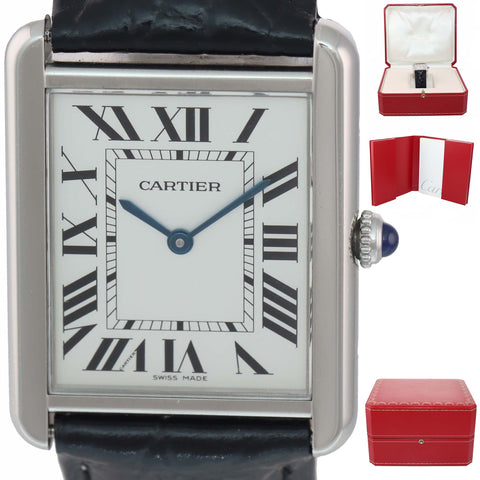 MINT Cartier Tank Solo Steel Silver Roman Dial Quartz Black Watch 2715 w Box
