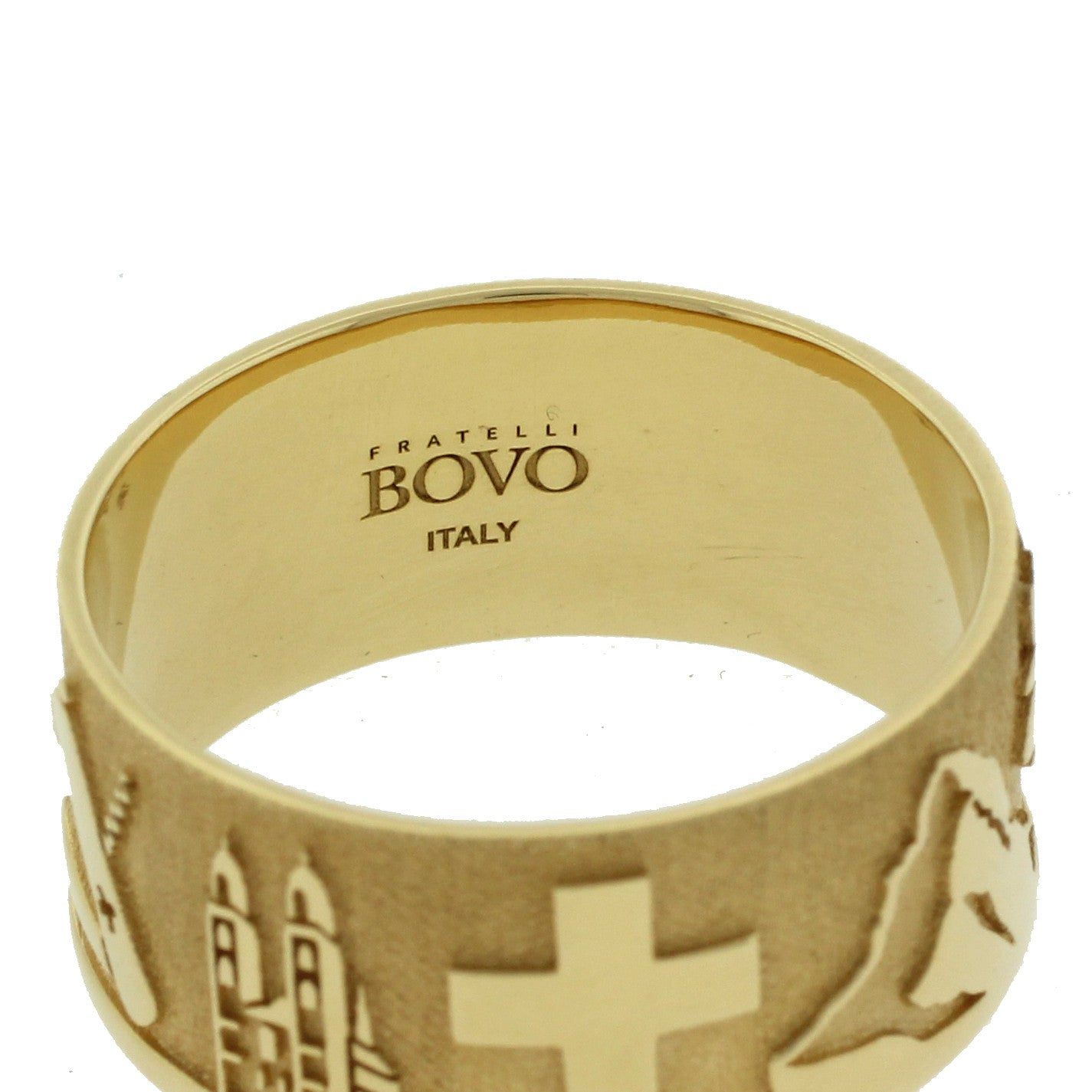 18k Solid Yellow Gold Ciao Ring Symbol of Switzerland Swiss BOVO Italy