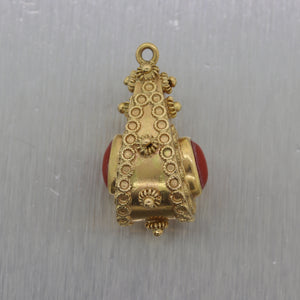 1960's Vintage Estate 18k Yellow Gold Etruscan Fob Charm Pendant