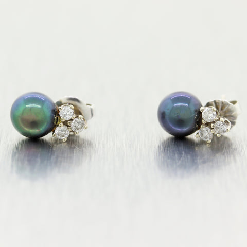 Vintage Estate 14k White Gold 0.10ctw Diamond & Black Pearl Stud Earrings