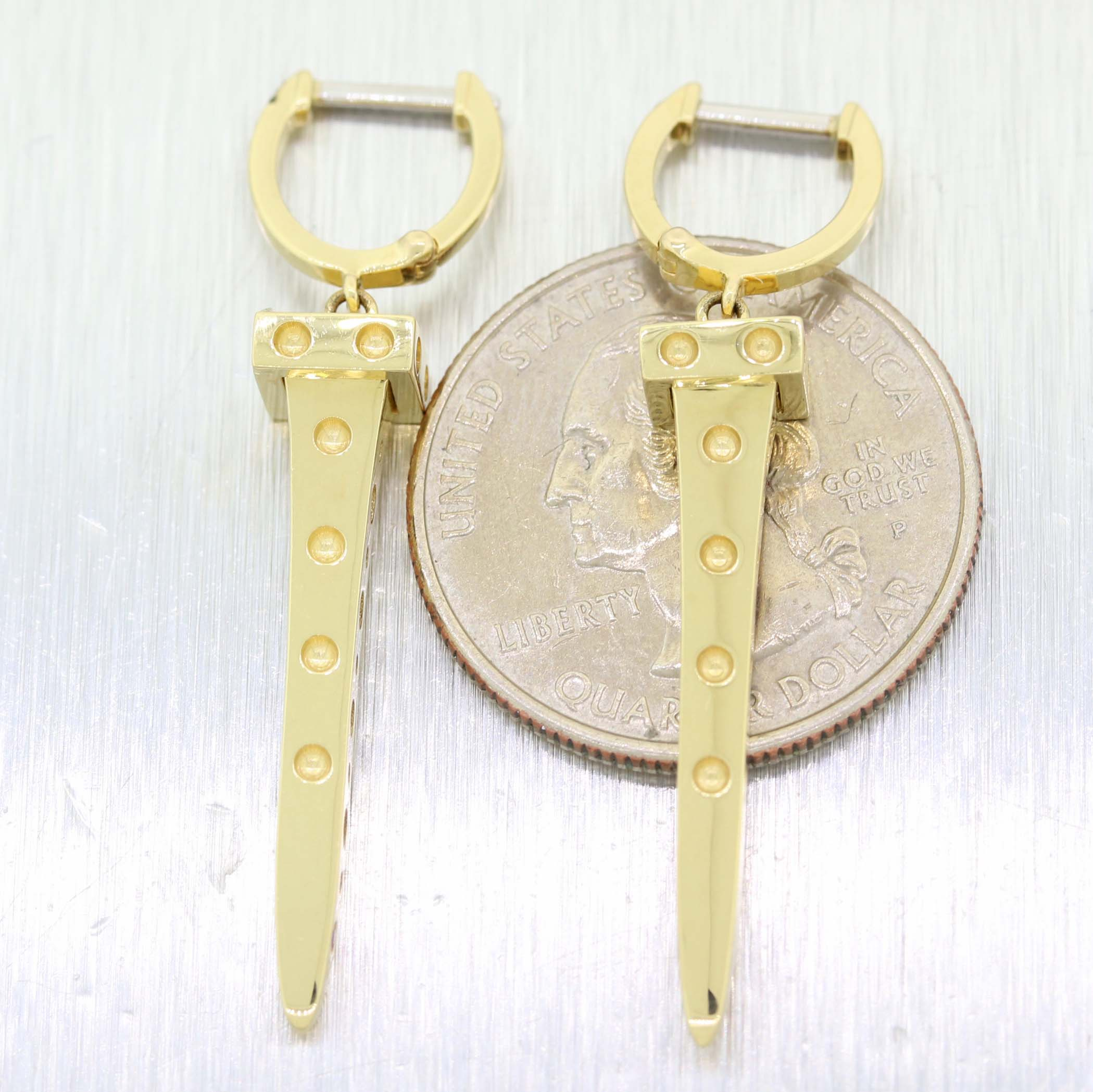 Roberto Coin Pois Moi Chiodo Solid 18k Yellow Gold Drop Dangle Earrings A9