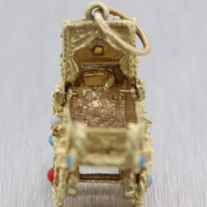 1960's Vintage Estate 14k Yellow Gold Baby Carriage Oversized Charm