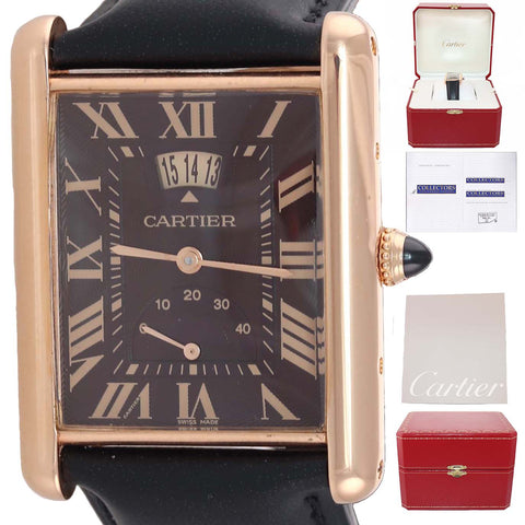 RARE PAPERS Cartier Louis Tank XL 3185 18k Rose Gold Power Reserve Brown Watch