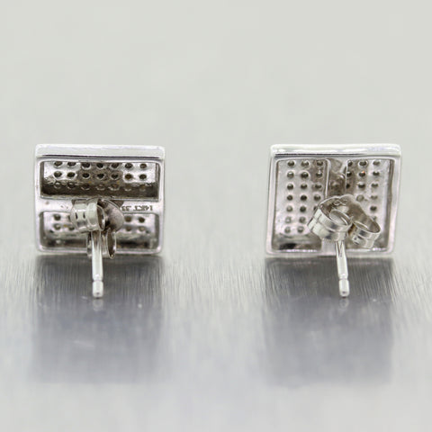 Modern 14k White Gold Pave Set 0.50ctw Diamond Stud Earrings