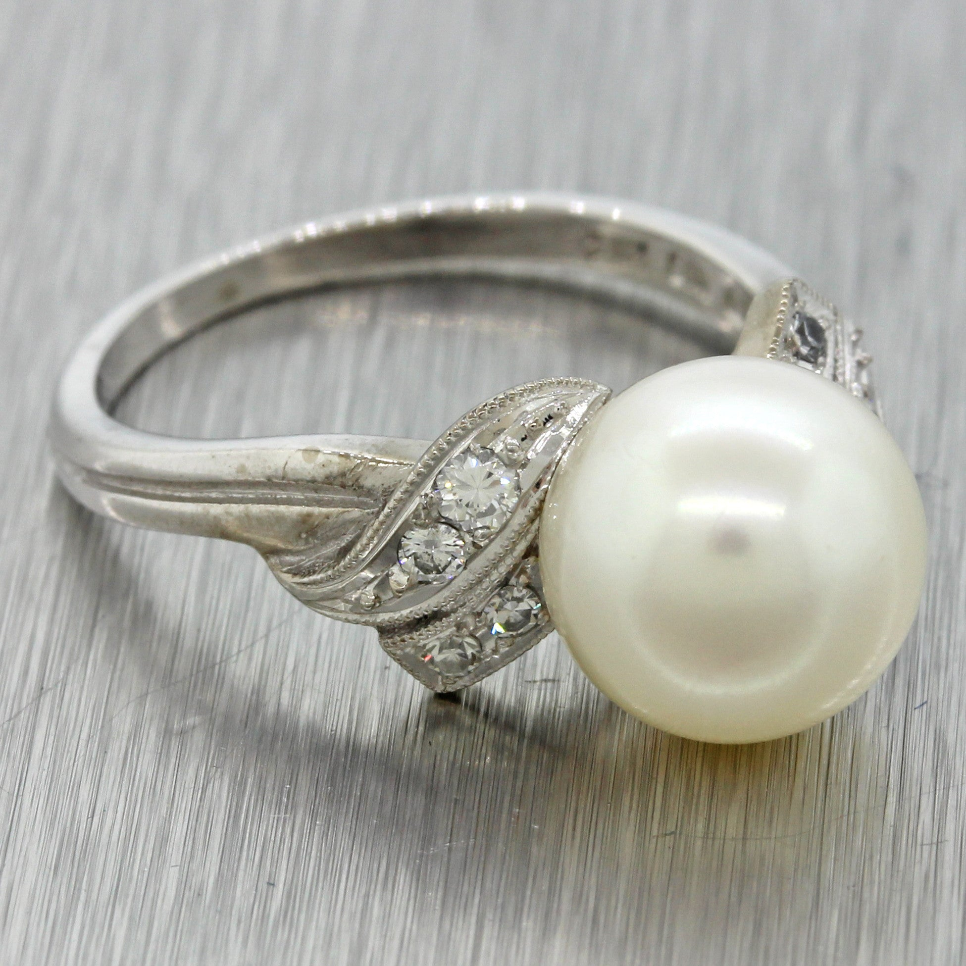 Authentic Mikimoto 14k White Gold 9.5mm Pearl Diamond Cocktail Ring