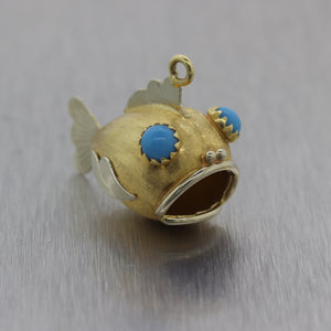 1960's Italian Vintage Estate 18k Yellow Gold Oversized Fish Pisces Charm