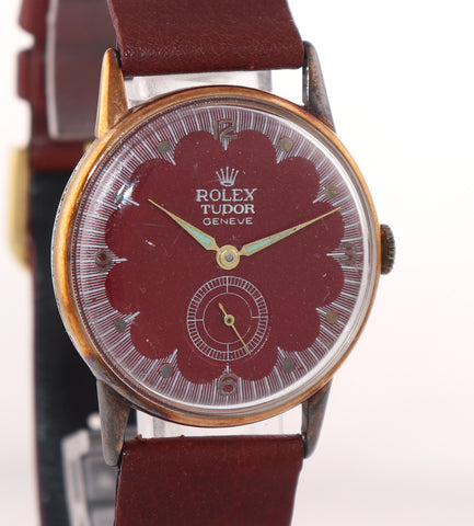 VTG Tudor 826 Manual Wind Up Red Steel Gold Tone 33mm Watch