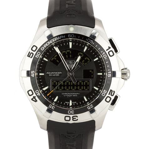 Tag Heuer Aquaracer Chronotimer Black 45mm Stainless Steel Quartz CAF1010 Watch