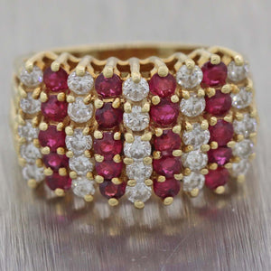 Vintage Estate 1.6ctw Ruby & Diamond 14k Yellow Gold Band Ring