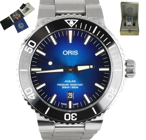 MINT Oris Aquis 7730 Blue Stainless Steel 43.5mm Automatic Black Ceramic Watch