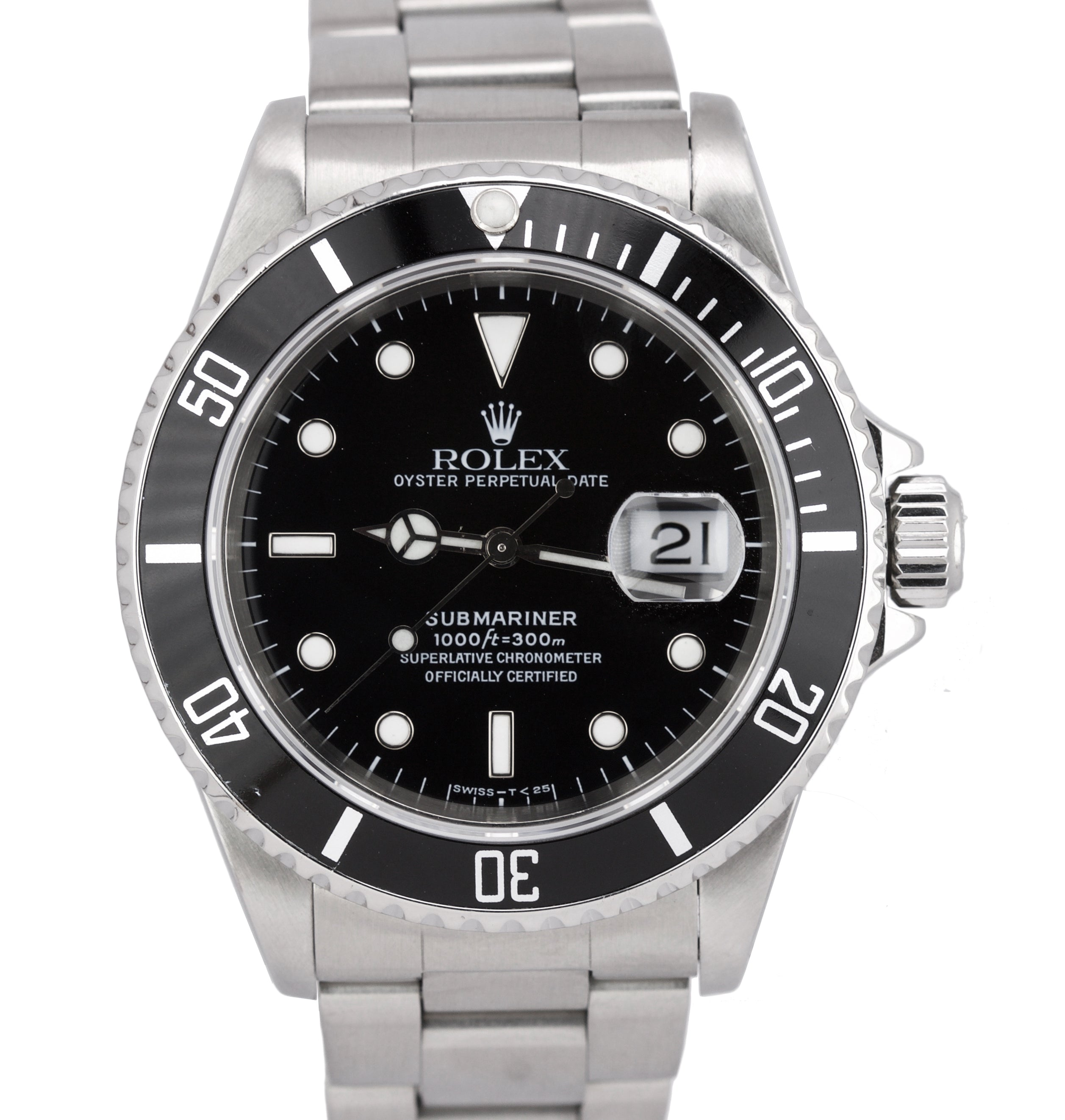 252b59be930 1998 Men's Rolex Submariner Date Stainless Steel U Serial 40mm Black 16610  Watch