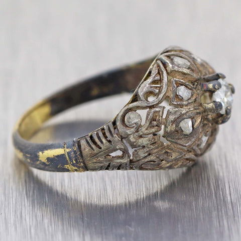 1900's Antique Victorian Rose Cut Diamond Silver & 18k Yellow Gold Ring