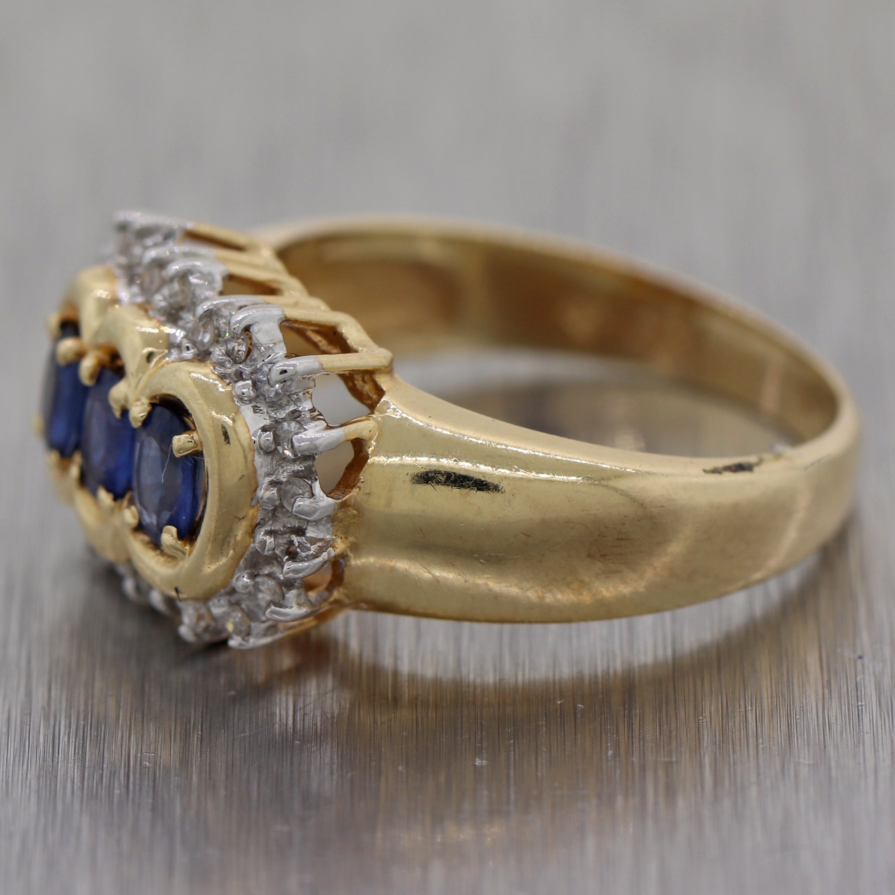 Vintage Estate 14k Yellow Gold 0.85ctw Sapphire & Diamond Ring