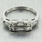 Antique Art Deco Platinum 0.60ctw Baguette & Round Diamond Wedding Ring