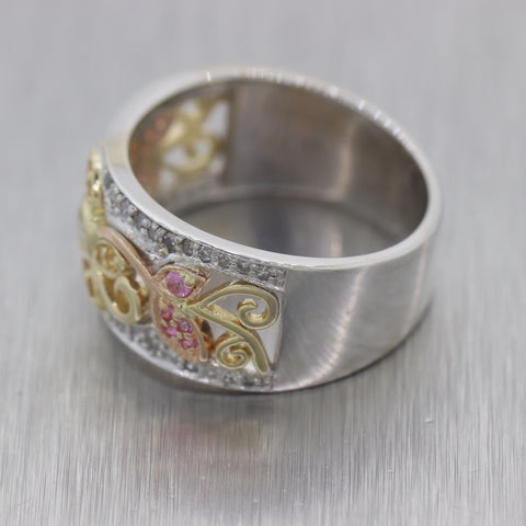 Modern 14k White Gold Pink & Yellow Sapphire Diamond Floral Wedding Band Ring