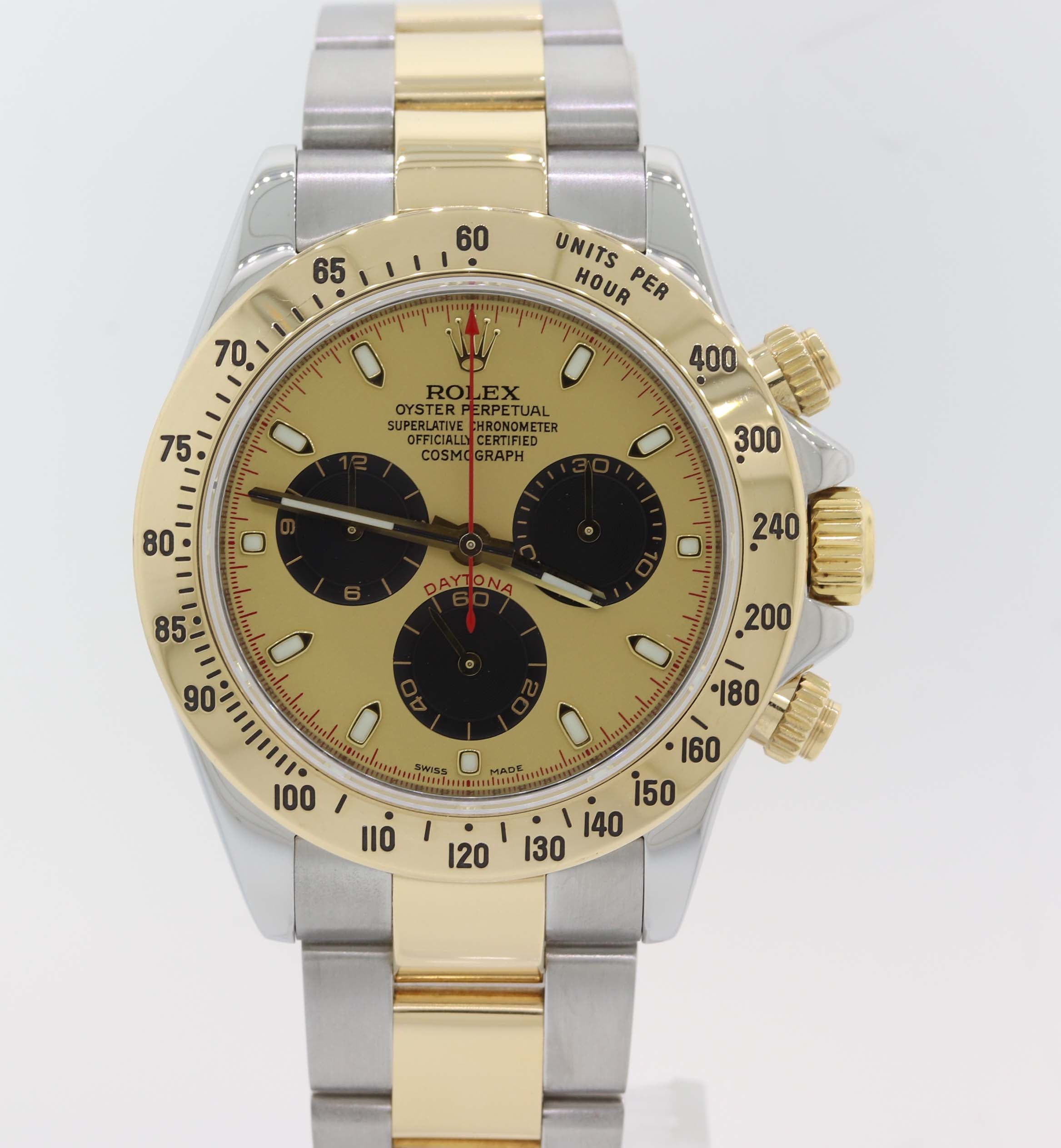 MINT Rolex Daytona Paul Newman Black 116523 18k Yellow Gold Steel Two Tone Watch