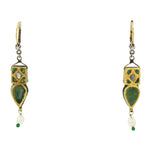Modern Moghul 23KT Solid Yellow Gold Diamond Emerald Pearl Enamel Leaf Earrings