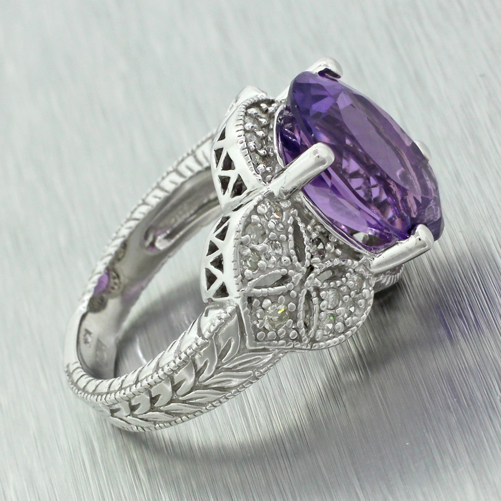 Vintage Estate 14k Solid White Gold Amethyst & Diamond Cocktail Ring