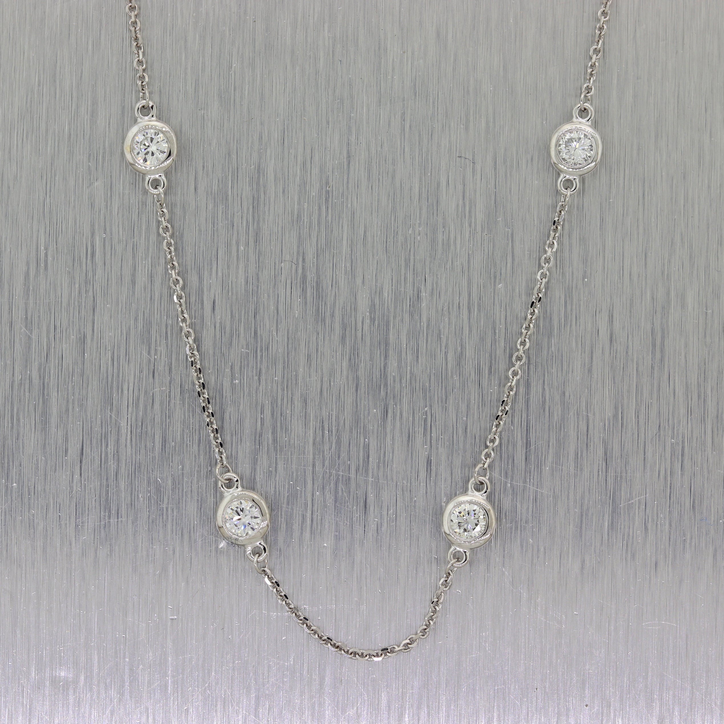 "Modern 14k White Gold 1.42ctw Diamonds By the Yard 18"" Necklace"