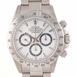 RARE Rolex 16520 A Serial Zenith Daytona White Dial Watch Steel Solid End Link J9