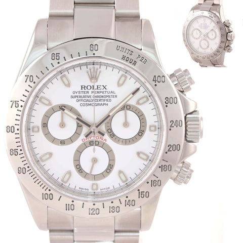 MINT w Sticker Rolex Daytona Cosmograph 116520 White Dial Steel Watch J9