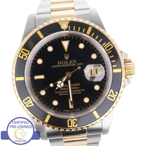 Men's Rolex Submariner 16613 Two-Tone Stainless Black Date Dive 40mm Watch