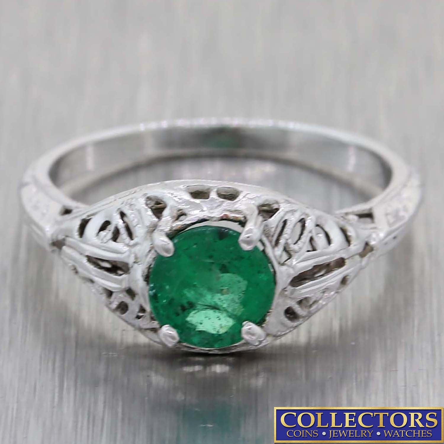 1930s Antique Art Deco Estate 18k White Gold .75ctw Emerald Diamond Ring E8