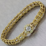 1880's Antique Victorian 14k Yellow Gold 0.80ctw Old Mine Cut Diamond Bracelet