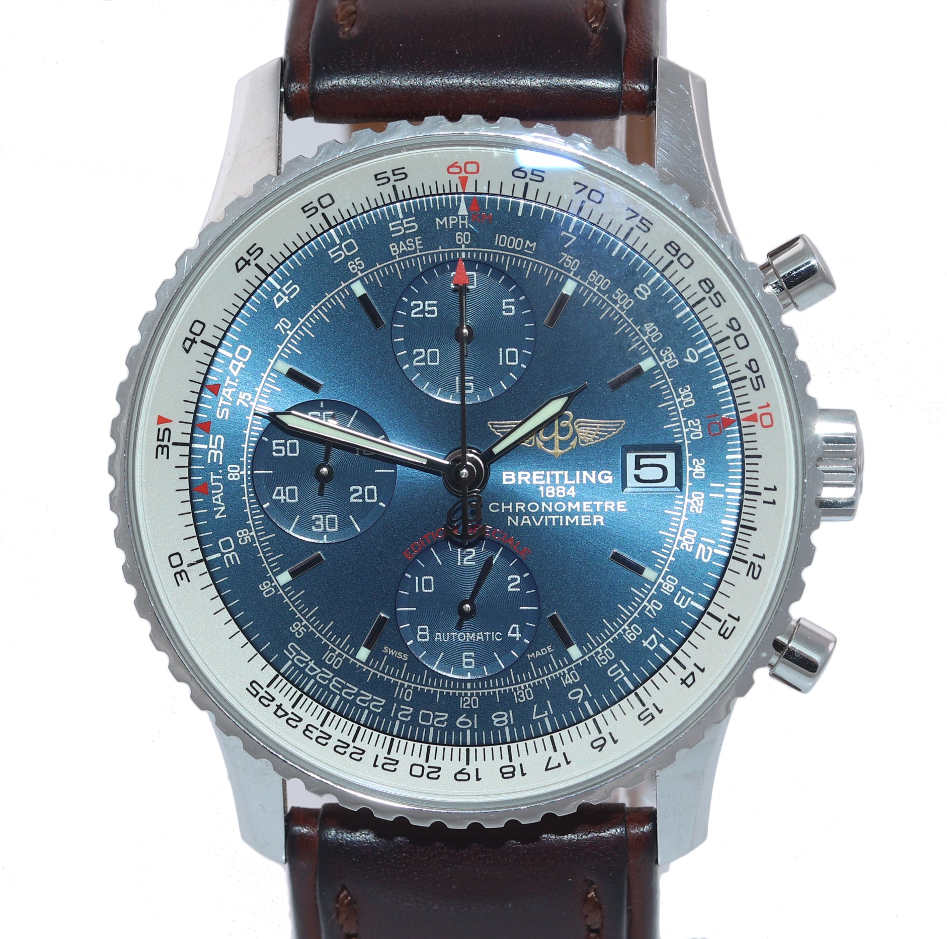 PAPERS Breitling Navitimer Chronograph 42mm Blue Dial Leather A13324 Watch