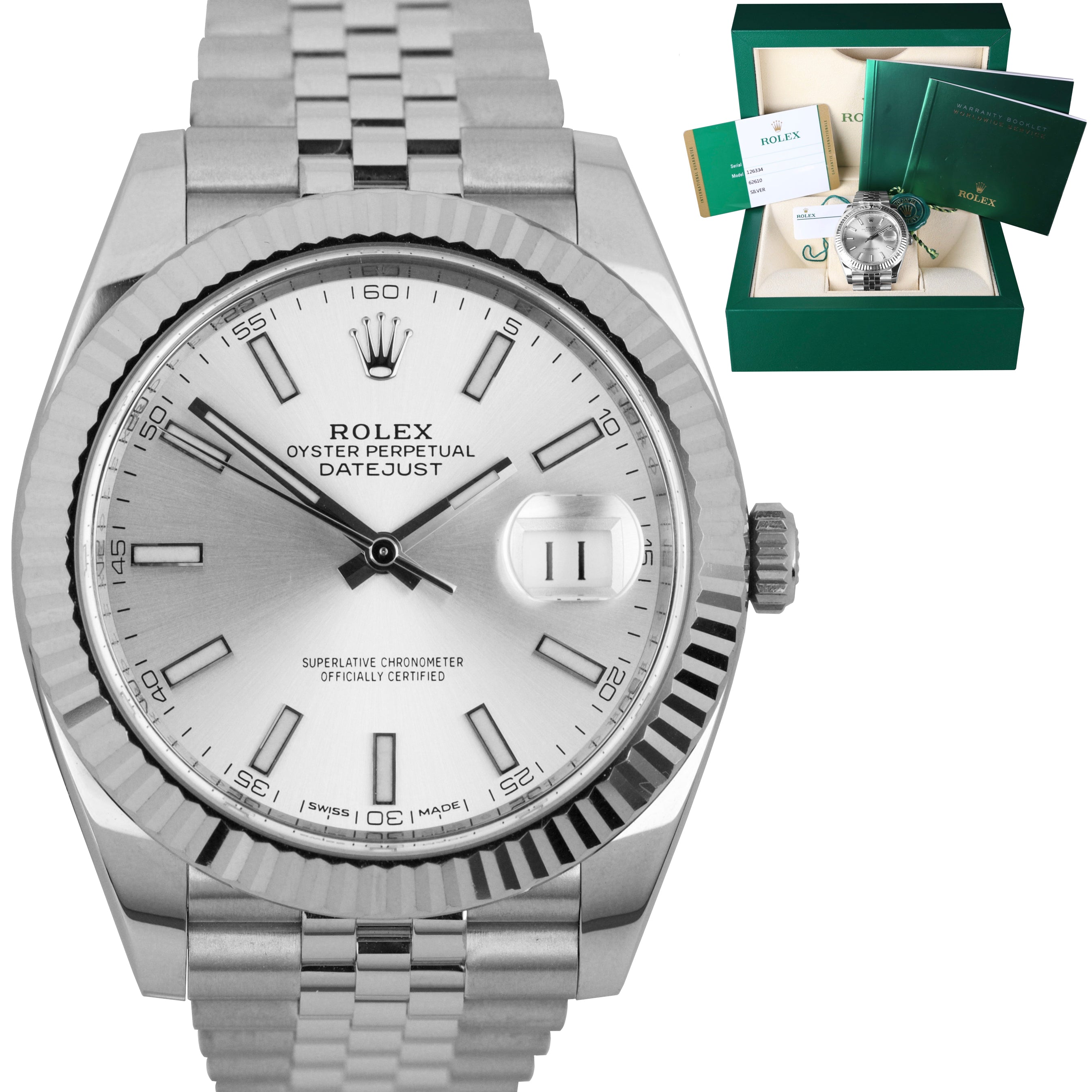 2017 MINT Rolex DateJust 41 126334 Silver Steel Fluted Jubilee 41mm Date Watch
