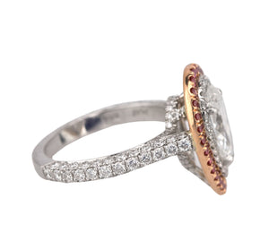 PLAT 18k Rose Gold 2.05 CT Pear Brilliant Cut Diamond Halo Engagement Ring GIA