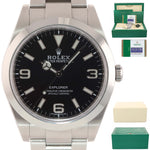 2016 PAPERS Rolex 214270 Explorer Black Arabic BLUE LUME 3-6-9 Steel 39mm Watch