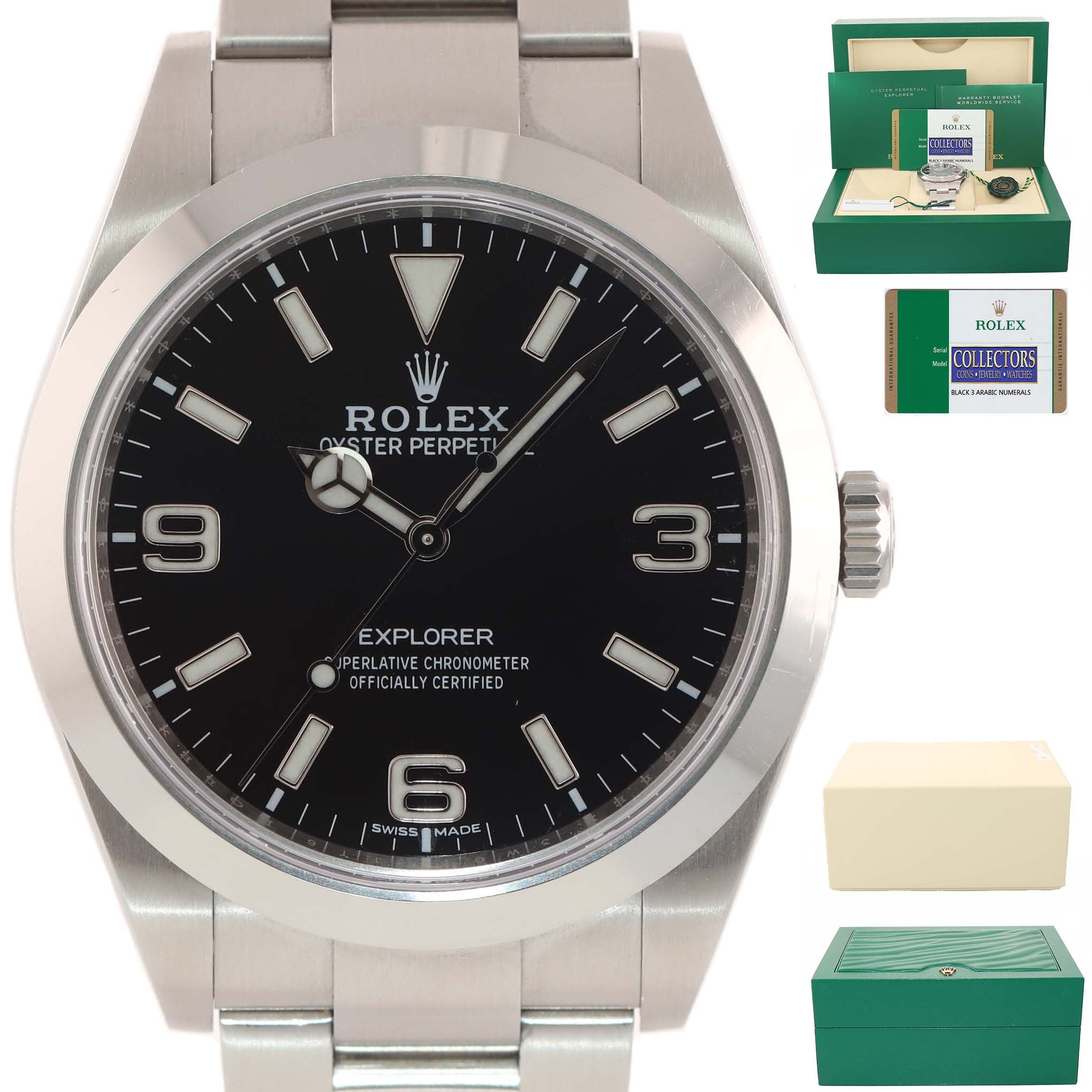 MINT PAPERS Rolex 214270 Explorer Black Arabic BLUE LUME 3-6-9 Steel 39mm Watch