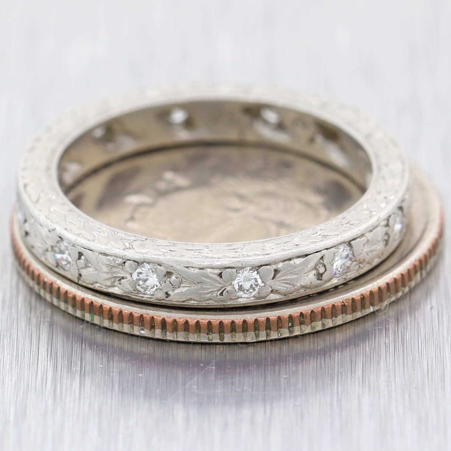 1920s Antique Art Deco Etched Platinum 2mm .25ct Diamond Wedding Band Ring A9