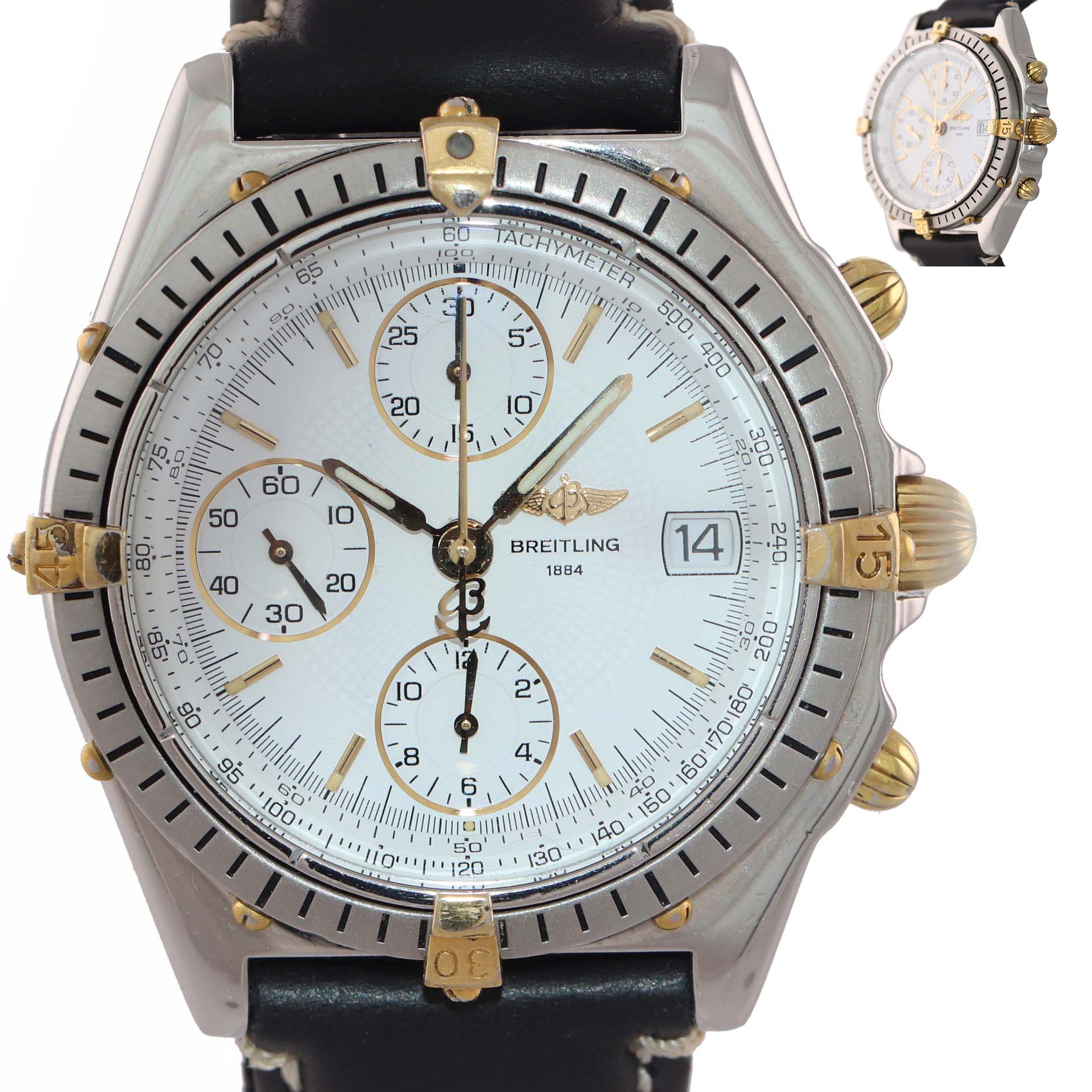 Breitling Chronomat Gold Steel 40mm Chronograph White Date Two Tone Watch B13050